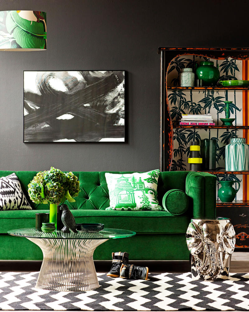 Интериорни бои и зелени мебели