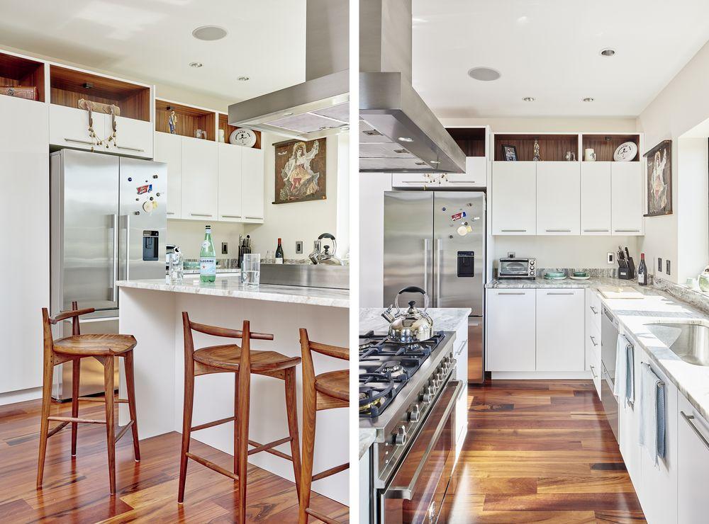 Кухнята с бяла боя за стена