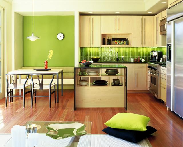 Зелени интериорни бои в кухнята