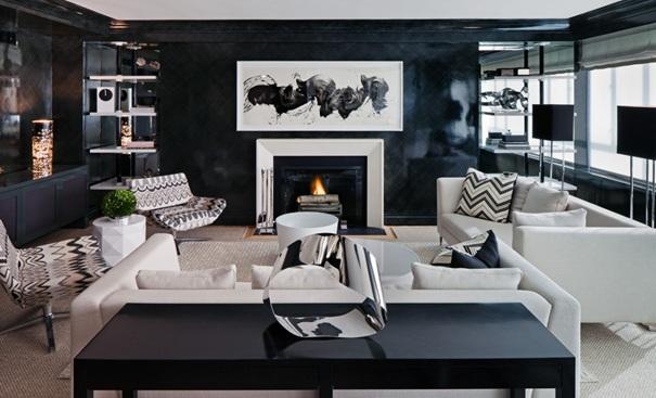 Черна боя за стена в хола